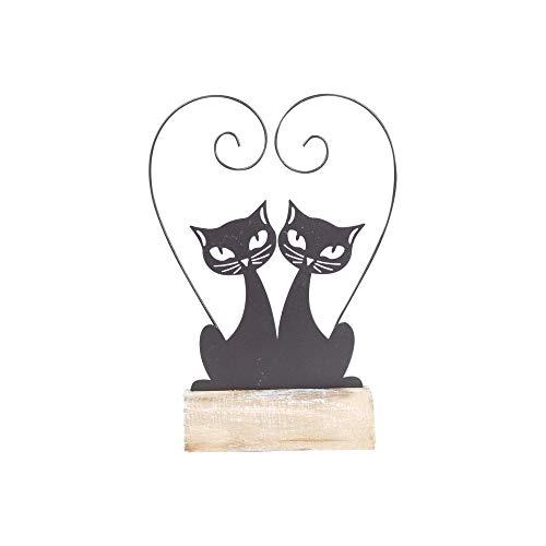 Vidal Regalos Figura Decorativa Pareja Gatos Metal 25 cm