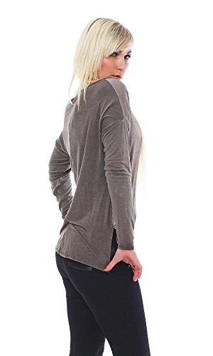Damen Seide Viskose Bluse, Bicolor, Top, T-shirt im modernen Design Braun