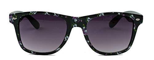 amashades Vintage Classics Der Klassiker mit Blumenmuster : Damen Retro Sonnenbrille floral 50er 60er 80er 90er Jahre WFS (schwarz grün lila)