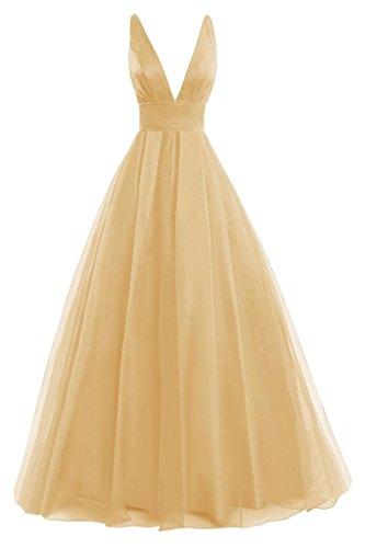 JAEDEN Sexy Damen A-Linie Tuell Ballkleider Lang V-Ausschnitt Abendkleid Festkleid Brautjungfernkleid Gold