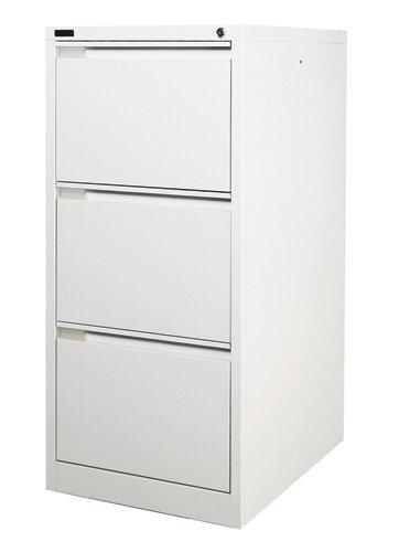 3 Drawer White Steel Filing Cabinet 62D x 47W x 101.5H (cm)