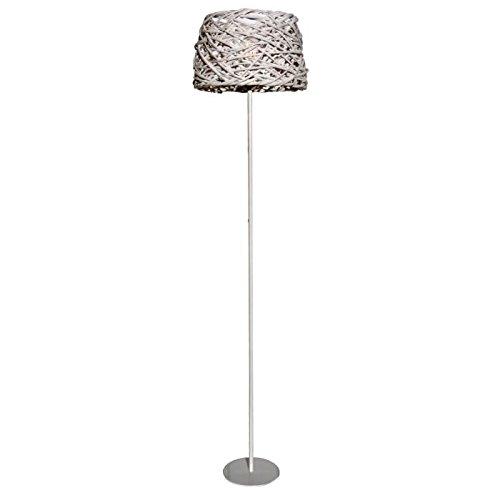 Lampadaire Occitane tron bois 35 cm blanc