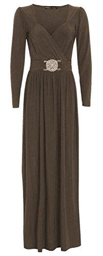 Chocolate Pickle ® Les nouvelles femmes Wrap Plus Boucle manches longues Robe longue 36-50 Moka