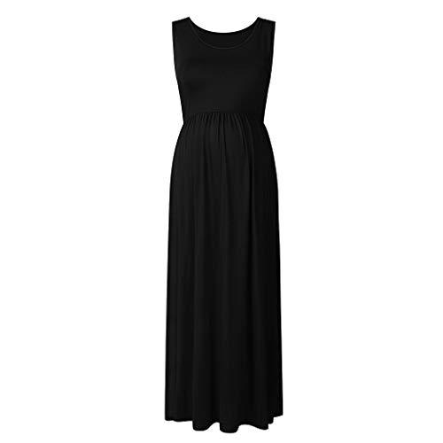 Plus Nahtmaterial (Huacat Schwangere Frau äRmellose Einfarbige Plissierte Weste Kleid Damen Mutterschaft Casual Ruched Solid Color Plus Size Tank Maxi)
