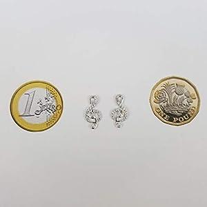 Kiara gioielli in argento Sterling 925rodiato, nota musicale, chiave di violino set di orecchini con pietre di zirconia cubica. Ipoallergenico
