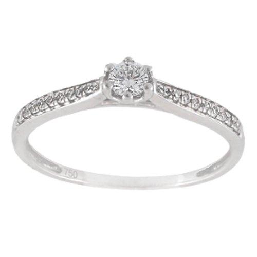 Anillo con 0,15 Ct. de diamantes en oro blanco 18K