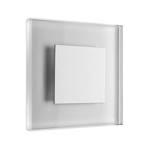 Serie Fünf Licht Wand Leuchte (SET LED Treppenbeleuchtung Premium SunLED Small Warmweiß 230V 1W Echtes Glas Wandleuchten Treppenlicht mit Unterputzdose Treppen-Stufen-Beleuchtung Wand-Einbauleuchte (Alu: Weiß, 7er Set))