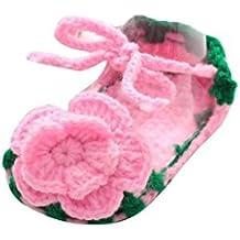 Zapatos Bebé niña primeros pasos ❤️ Amlaiworld Zapatos rosas de verano para bebés Cuna Crochet Calcetín de punto hecho a mano de niñas zapatos princesa (0-1 años, A)