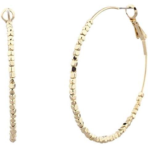Lux accessori oro perline Orecchini a cerchio