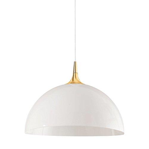 Schalen-Pendelleuchte 1-flammig Dome Gestellfarbe: Gold 24K, Schirmfarbe: Weiß, Größe: 185 cm H x 50 cm Ø H Schale