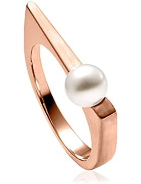 steel_art Damen-Ring margarita roségold swarovski perle weiß 6 mm Ringe mit Perlen Perlenschmuck Zuchtperle Edelstahl...
