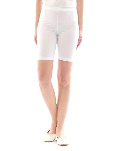 Damen Sport Shorts Hotpants Sportshorts Radler kurze Leggings Baumwolle weiss XL (Kurze Weiß Zwickel)