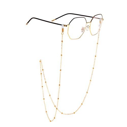 Haodou Metall Brille Kette Brillen Halskette Schnur Strap Gläser Holder Lanyard Sonnenbrille Hals Cord Strap Brillenfassung Rutschfest Kette (Gold)