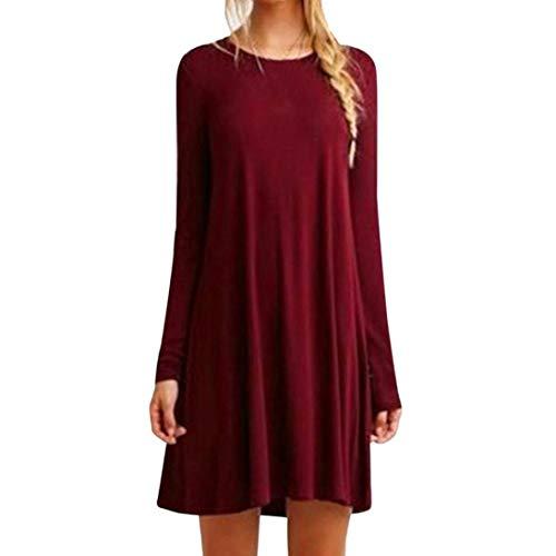 Kanpola Damen Kleid Langarm Kalte Lose T-Shirt Kleider Casual Longblusen Casual Tunic Shirt
