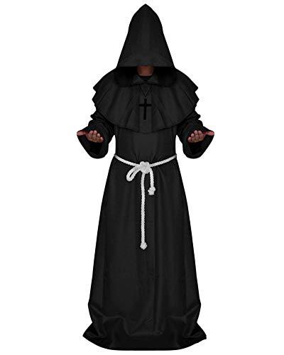 (GladiolusA Erwachsene Mittelalter Mönch Robe Mit Kapuze Cosplay Halloween Karneval Fasching Kostüm Party Kleid Schwarz XL)