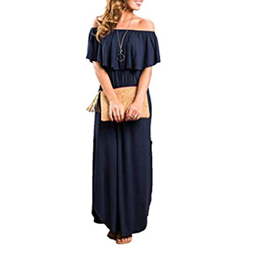 Modfine Damen Schulterfrei Kleider lang Sommerkleid Off Shoulder Boho Kleider Casual Strandkleider Side Split Maxikleid Cocktail Abendkleid - Maxi Side Split