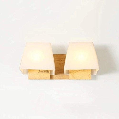 HAIZHEN Einfache, moderne Rundholz Nachttischlampe Lampe Wohnzimmer Schlafzimmer Balkon Gang Wandleuchte kreative Massivholz Lampen Joker Energiesparende LED E27 (Größe: B)