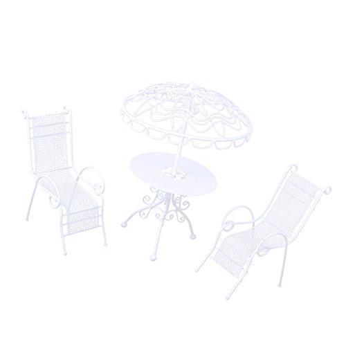 MagiDeal 1/12 Puppenhaus Gartenmöbel - Miniatur Metall Tisch & Stühle Set - 3 Stück/Set - Weiß