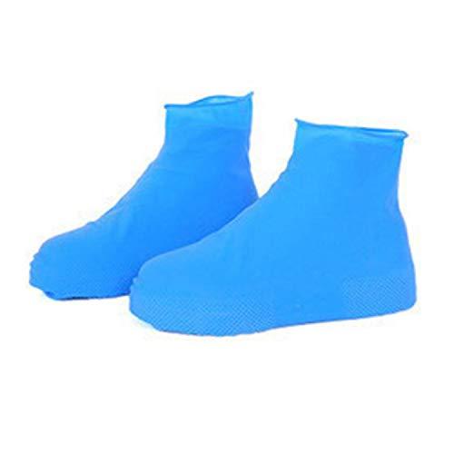 Waterproof Rain Reusable Shoes Covers All Seasons Slip-resistant Rubber Rain Boot Overshoes Men&Women Shoes Accessories,Blue,M (Boots Overshoe)