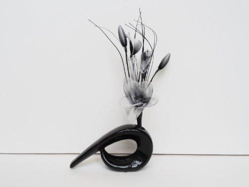 Schwarz Und Weiß Blumen Muster Aus Hauchdünnem Nylon In Einem Comma Vase, Kunstblumen schwarz (Weiße Blumen In Vase)