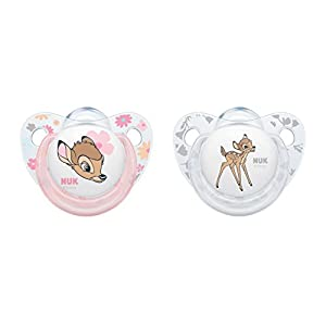 NUK Disney Classics Trendline Silikon-Schnuller Bambi, kiefergerechte Form, 2 Stück