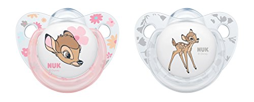 NUK Disney Classics Trendline Silikon-Schnuller Bambi, kiefergerechte Form, 0-6 Monate, 2 Stück