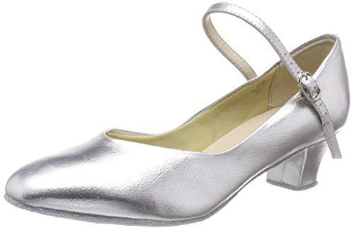 So Danca CH791 Charakterschuhe Damen Latein Salsa Rumba Trachten Tango Tanz Schuhe mit Chromledersohle, Weite M, Absatz 4 cm - mit Gratis Ansteck Button, Silber, 39 EU