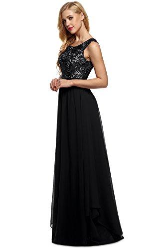 Damen Elegantes Kleid Chiffon Aermellos Rundhals Cocktailkeid Maxi Sommerkleid, Schwarz, Gr.EU 38 / XL