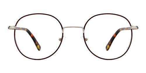TIJN Vintage Runde optische Brillen nicht verschreibungspflichtigen Brillen Rahmen mit klaren Gläsern