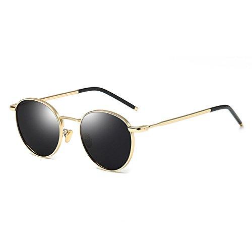 Erwachsene Retro Sonnenbrille, Metallrahmen Sonnenbrille, Vintage UV400 für Männer Frauen (Farbe : Gold Frame Black Grey Lens)