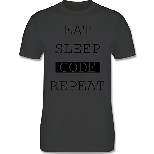 Programmierer - Eat-Sleep-Code-Repeat - Herren Premium T-Shirt Dunkelgrau