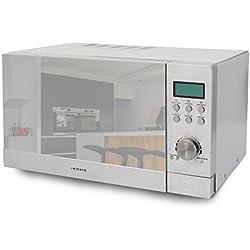 IKOHS Micro-ondes Grill HW800 -Micro-ondes avec gril, fonction four, 800 W, Capacité de 23 L, 5 niveaux de puissance, Minuterie, Menu automatique 8, Cuisson multifréquences, Horloge numérique