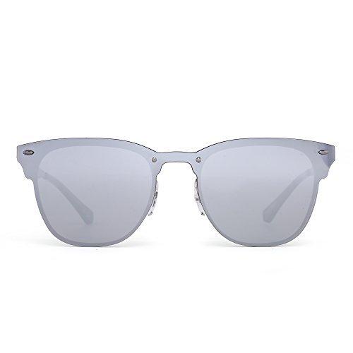 JIM HALO Randlos Sonnenbrille Ein Stück Gehörnt mit Rand Metall Gespiegelt Damen Herren(Bronze/Spiegel Silber)