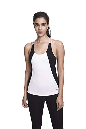 Satva Premium Organic Cotton Open Back Strappy Tank Top Camisole with Built In Shelf Bra for Yoga Workout Running Sports Training Cycling Arhat Fitted Cami, White & Black, X-Large (Bra Top Tank Built In)