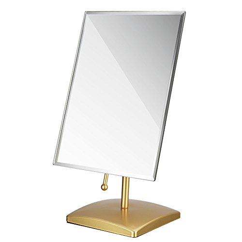 Desktop-Kosmetikspiegel HD Schlafzimmer Spiegel Multi-Winkel-Rotation Kosmetikspiegel (Farbe : Gold)