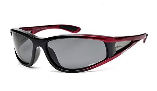 Arctica ® S-69 Polarisiert & Schwimmende Sport-Sonnenbrille. Zum Fahren, Angeln, Segeln, Radfahren oder für den täglichen Gebrauch. (Schwarz & Rot, Grau, Kat. 3)