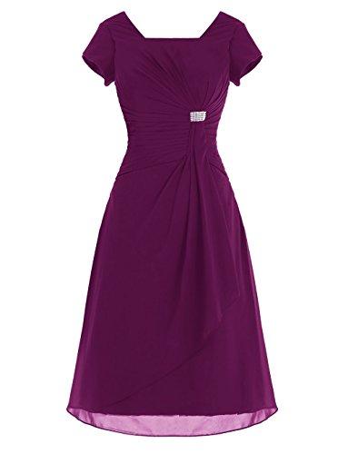 Fanciest Damen Scoop Kurz Ball Kleider with Sleeves Party Kleider Royal Blue Grape