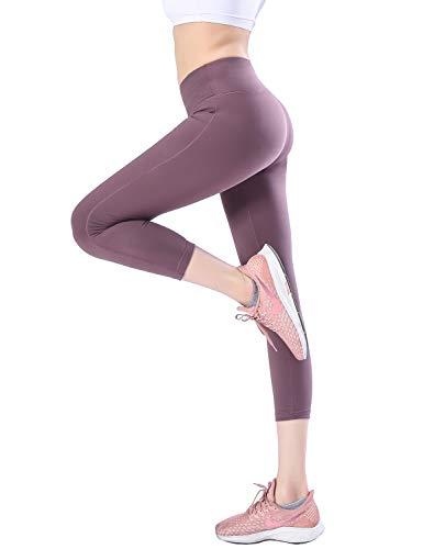 Croslimit Damen Yoga Leggings - Upgrade hoher bund Tummy Control - Hidden Pocket - Plus Size Sport Leggings Running Tights Training hose Casual Trousers(XS, DunkelViolett Capris(bund Tasche)) Capri Running Legging