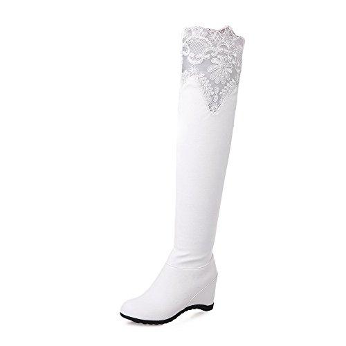 AalarDom Damen Rund Zehe Hoher Absatz Weiches Material Hoch-Spitze Rein Stiefel, Weiß, 37