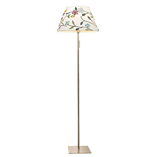 Lampadaire Corps De Lampe Revêtu De Métal Blanc, 8 Couleurs Abat-Jour en Tissu Brodé avec Interrupteur À Câble, Lampe D'intérieur Lampe De Salon