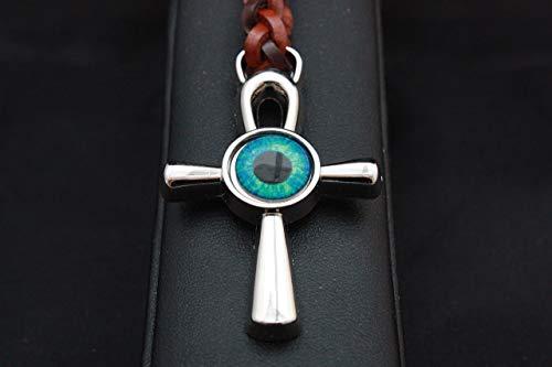 Llavero de Zamak Cromado de alta calidad, unido a una anilla de acero por un cuero trenzado de color marrón