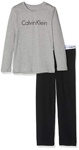 Calvin Klein Jungen Ls Knit Pj Set Zweiteiliger Schlafanzug, Grau (Grey Heather W/Black 044), One Size (Herstellergröße: 10-12) -