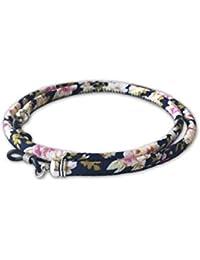 Cordón redondo de gafas estampado flores rosa azul marino
