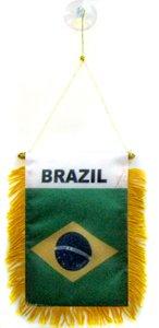 AZ FLAG Fanion Brésil 15x10cm - Mini Drapeau brésilien 10 x 15 cm spécial Voiture - Bannière