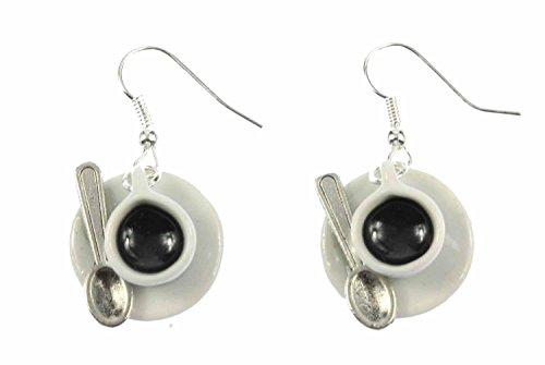 Tasse Kaffee mit Löffel Ohrringe Kaffeetasse Cafe Ohrhänger Miniblings Porzellan thumbnail