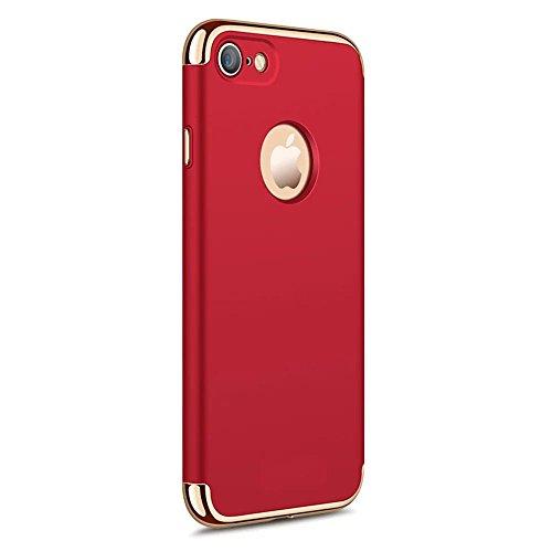 Vandot Apple iphone 7 Étui Exclusif Design Coque détachable Air Plastique Dure de PC Retour Bumper Case Cover Ultra Slim Thin 0,9 mm Matte Building Pratiques de Protection Haut de Gamme Pattern Housse Scission-Rouge