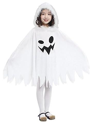 GIFT TOWER Déguisement Fantôme Blanc Cape à capuche Enfant Fille/Garçon Halloween Costume Cosplay Carnaval