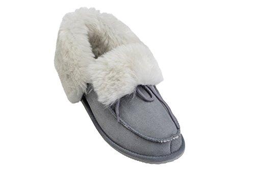 Mocassino Donna Uomo In Pelle Di Agnello Pantofole In Vera Pelle Foderata In Lana Pantofole Pantofole Scarpe Grigio / Bianco