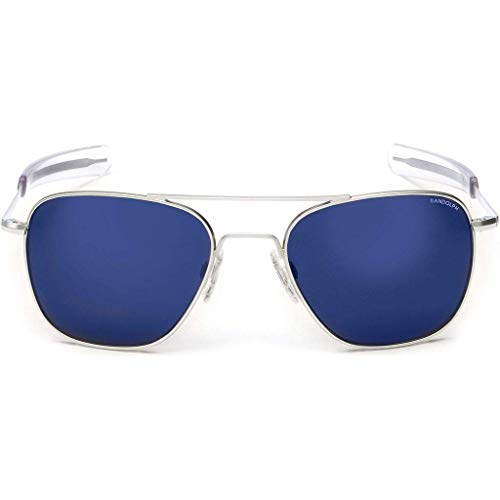 Randolph Engineering Quadratische Aviator Sonnenbrille im Matt Chrom-blauer Himmel-Flash AF54668-PC 55 55 Blue Sky Flash
