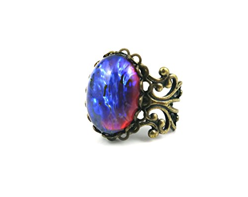 mexican-opal-dragons-breath-ring-red-blue-fire-amulet-adjustable-antique-bronze-filigree-setting